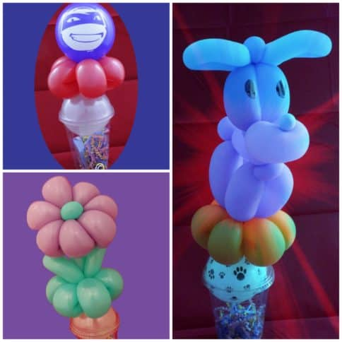 candy cups with balloons